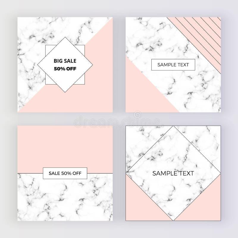 Bannières sociales modernes de media, texture de marbre avec le fond rose de la géométrie Calibre carré pour des conceptions, car illustration de vecteur