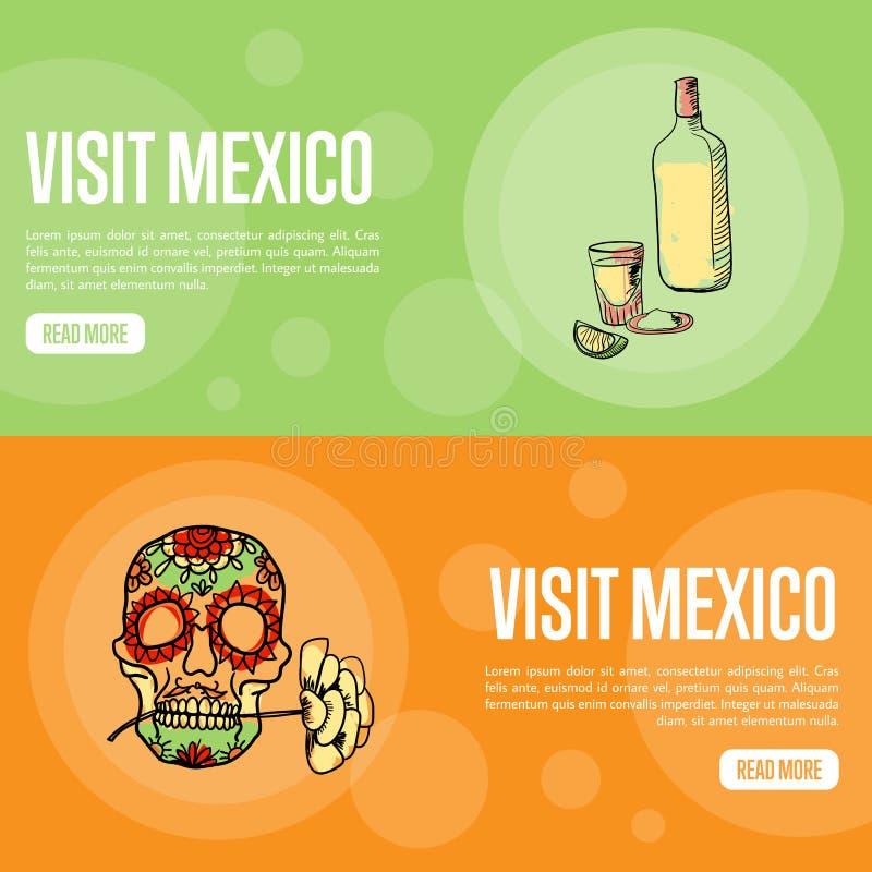 Bannières touristiques de Web de vecteur du Mexique de visite illustration de vecteur