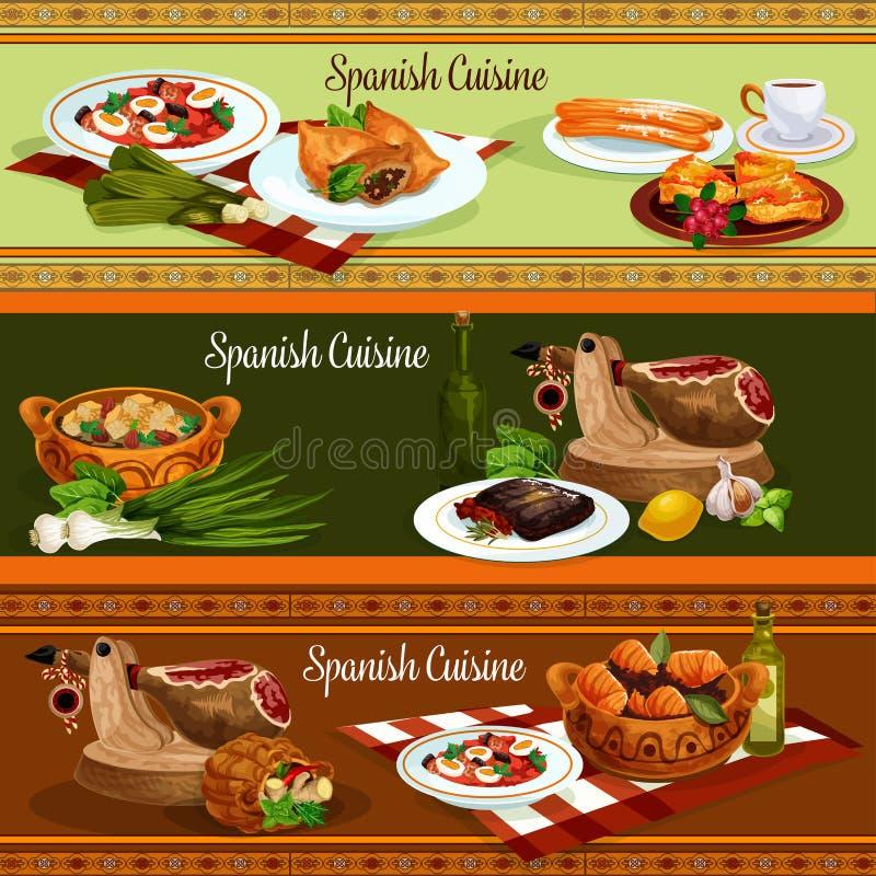 Bannières traditionnelles de nourriture de cuisine espagnole illustration de vecteur