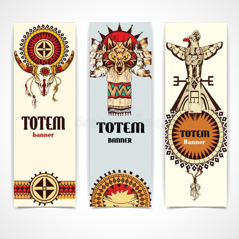 Bannières tribales verticales illustration de vecteur