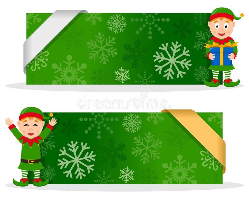 Bannières vertes de Noël avec Elf heureux illustration de vecteur