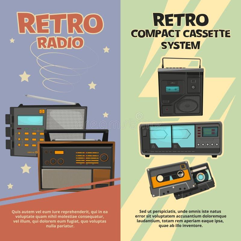 Bannières verticales avec des illustrations des enregistreurs et des radios de vintage illustration de vecteur