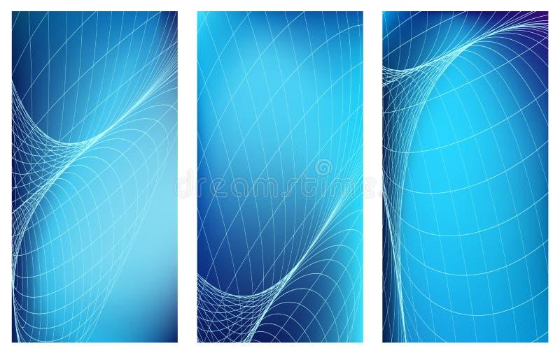 Bannières verticales bleues réglées avec les lignes légères abstraites de courbe Fond bleu lumineux de spase Conception web illustration stock