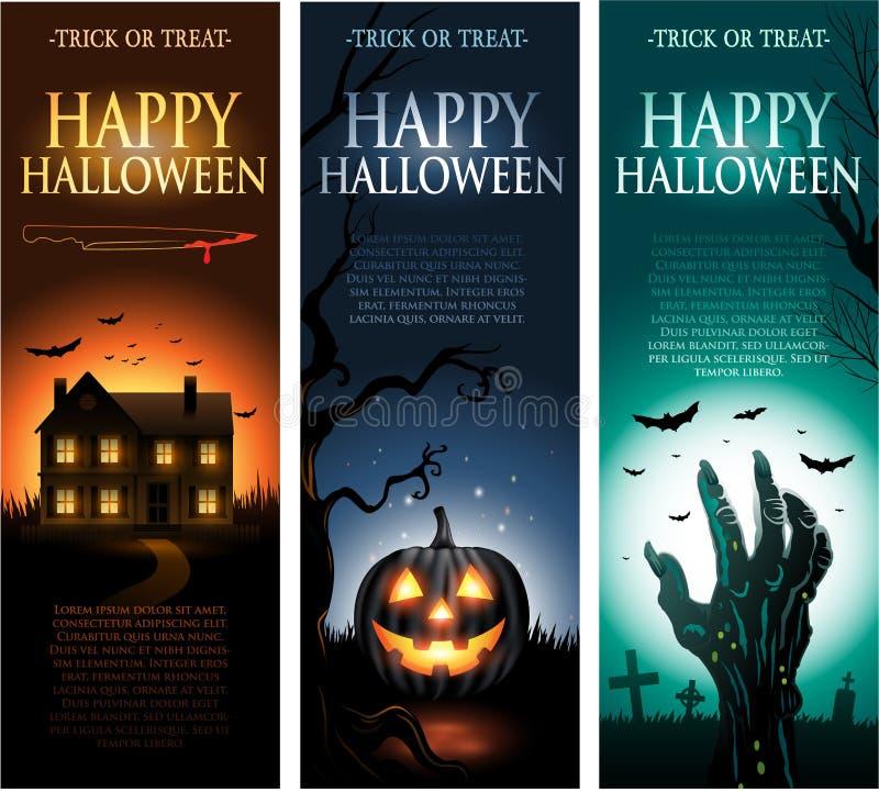 Bannières verticales d'invitation de Halloween de vecteur illustration libre de droits