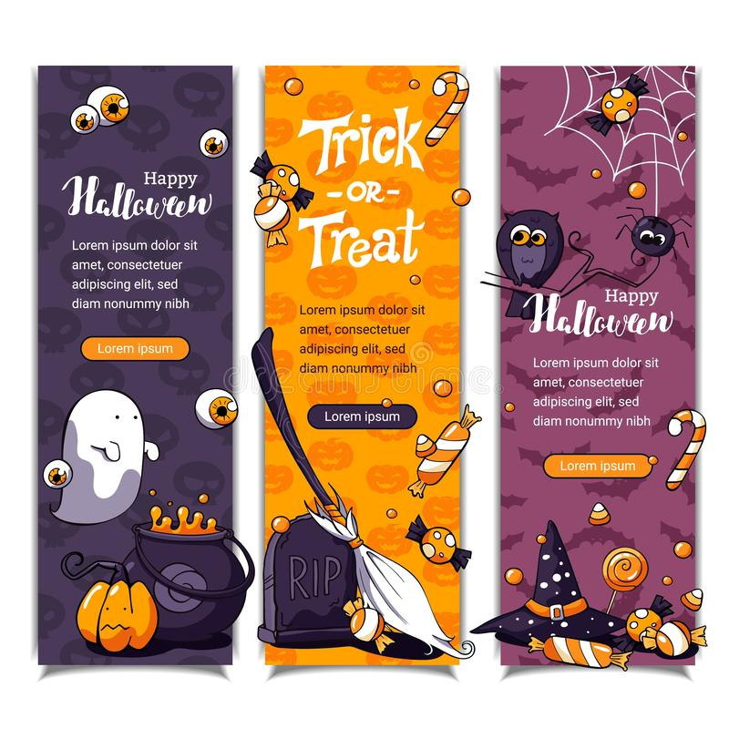 Bannières verticales de Halloween avec le fond de modèle Invitations tirées par la main de vecteur de bande dessinée avec le lett illustration de vecteur