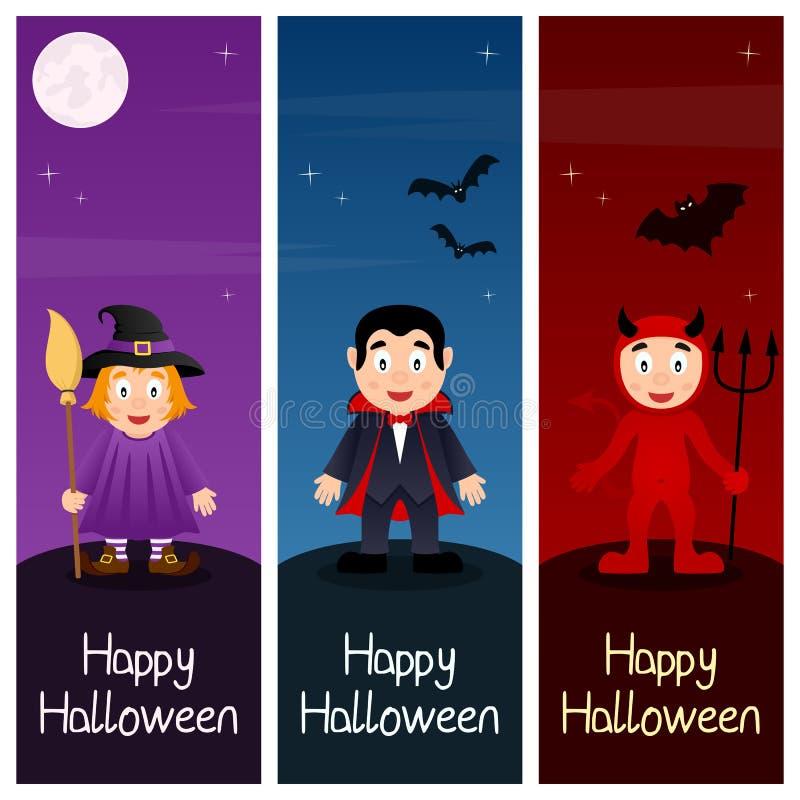Bannières verticales de monstres de Halloween [1] illustration de vecteur