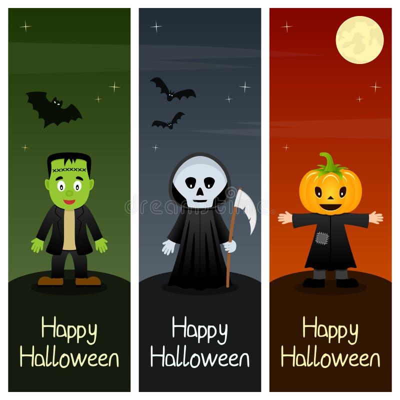 Bannières verticales de monstres de Halloween [2] illustration de vecteur
