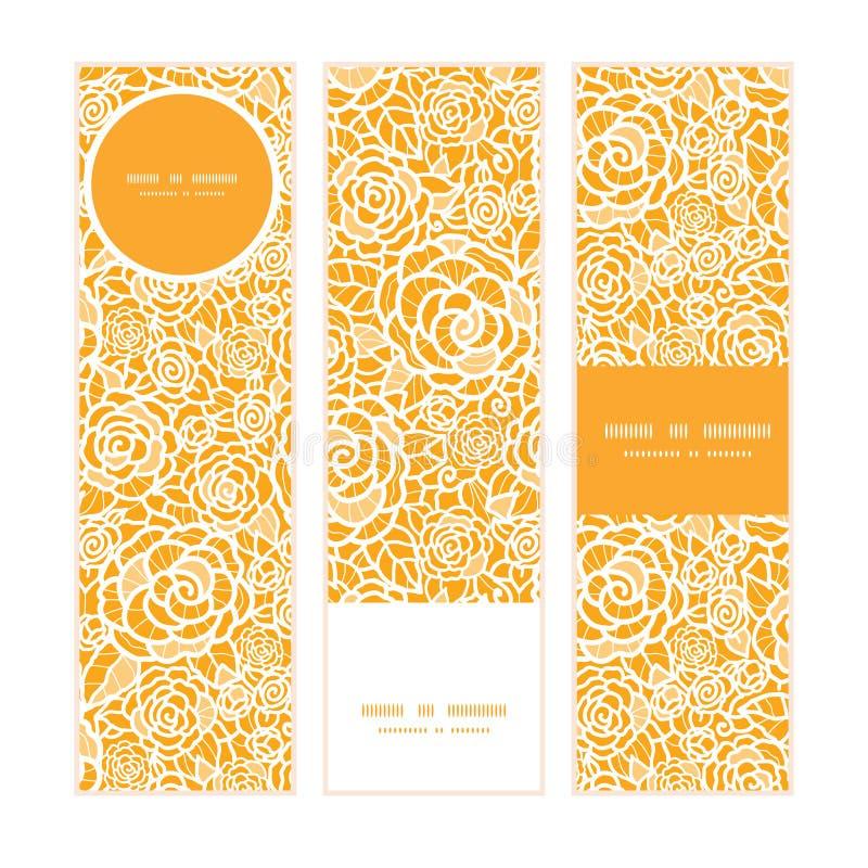 Bannières verticales de roses d'or de dentelle de vecteur réglées illustration de vecteur