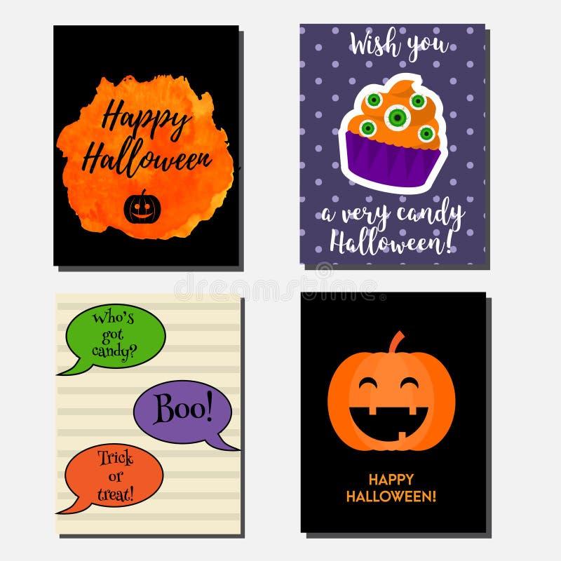 Bannières verticales de vecteur de Halloween, cartes de voeux avec des symboles de vacances Invitations de partie illustration stock