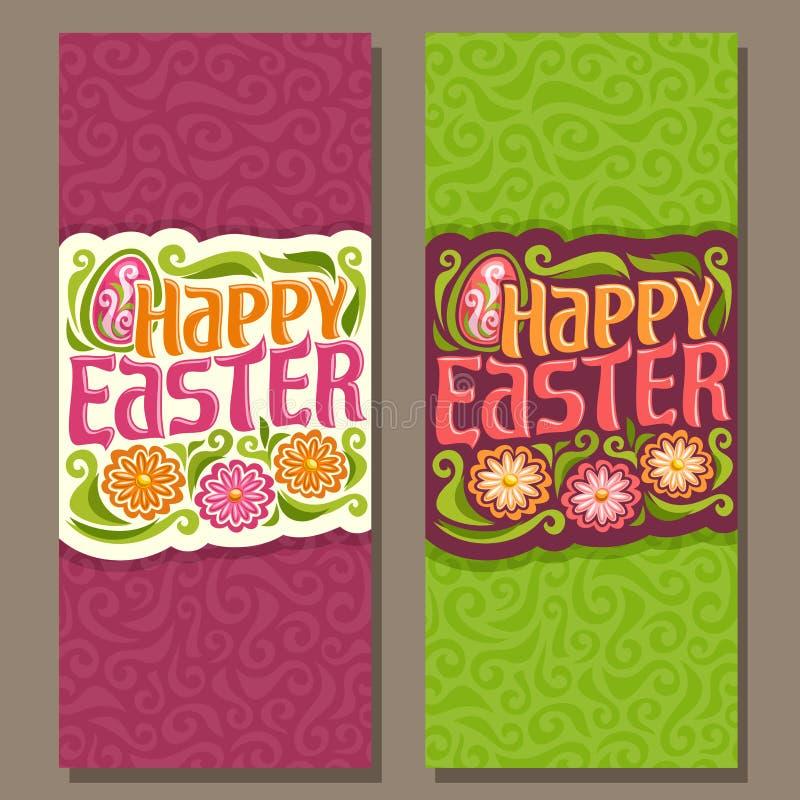 Bannières verticales de vecteur pour des vacances heureuses de Pâques illustration de vecteur
