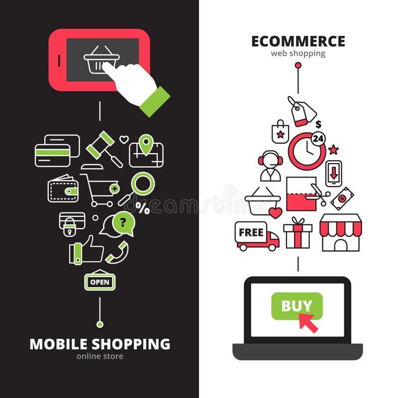 Bannières verticales des achats 2 en ligne mobiles réglées illustration stock
