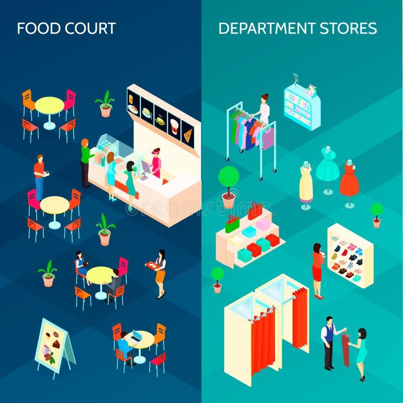 Bannières verticales du centre commercial deux illustration stock