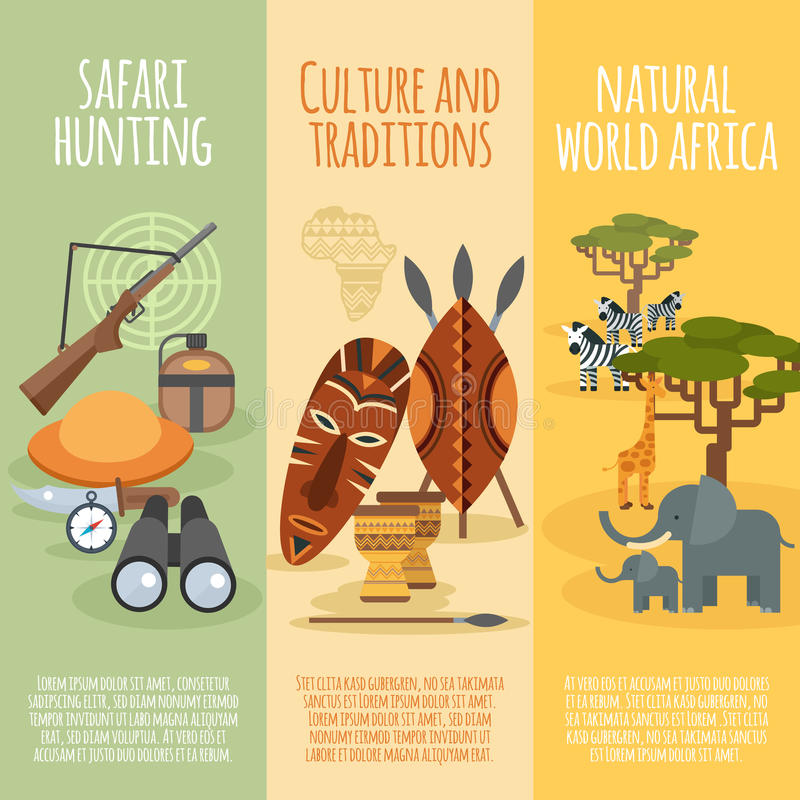 Bannières verticales plates de culture africaine réglées illustration libre de droits