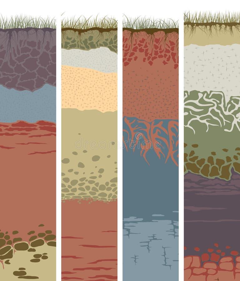 Bannières verticales réglées avec la coupe des colonnes de sol (profil) illustration libre de droits