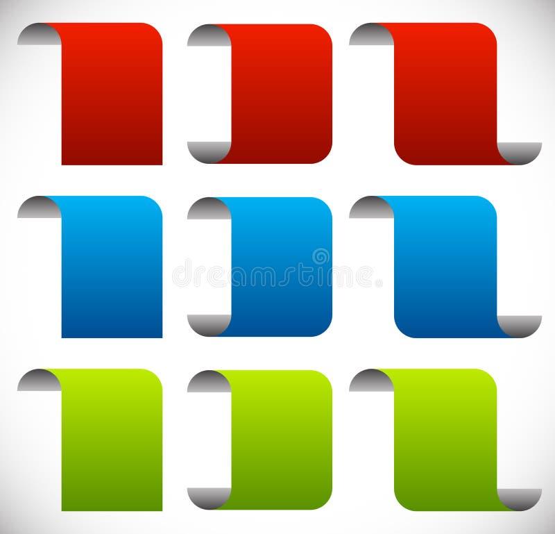 Bannières vides pliées Bannière verticale d'épluchage, elem de conception de feuille illustration stock