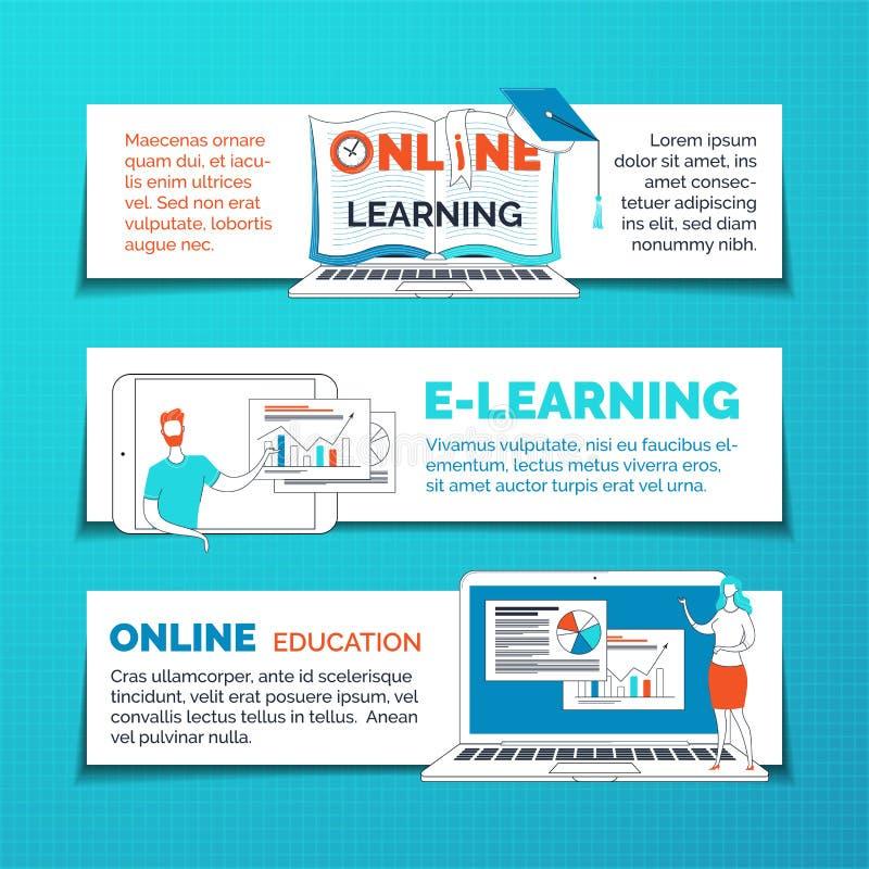 Bannières Web sur l'apprentissage en ligne et l'éducation à distance illustration de vecteur