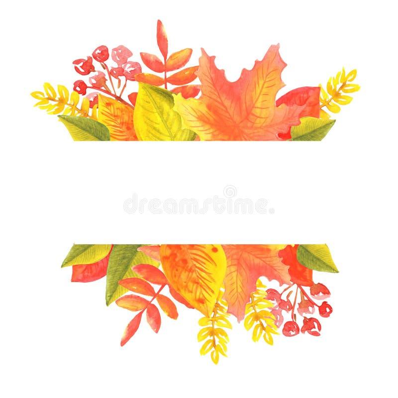 Banni?re d'aquarelle des feuilles et des branches d'isolement sur le fond blanc illustration libre de droits