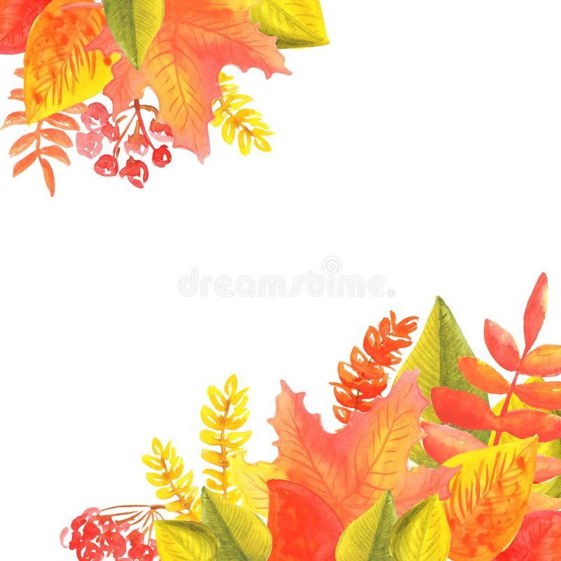 Banni?re d'aquarelle des feuilles et des branches d'isolement sur le fond blanc Illustration d'automne pour des cartes de voeux illustration de vecteur