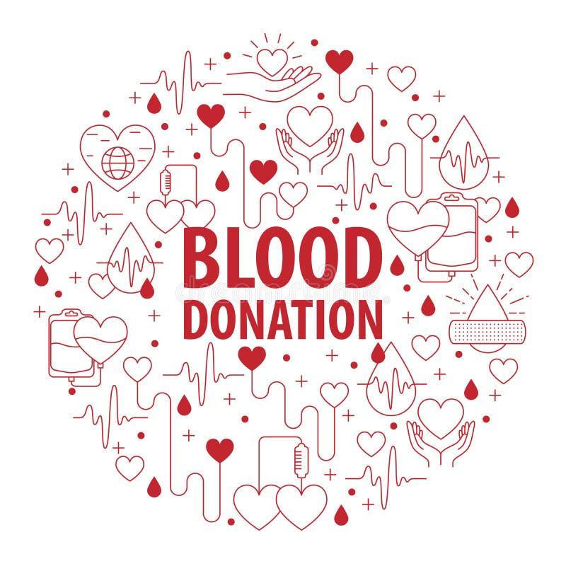 Banni?re de cercle de sang de donation illustration stock