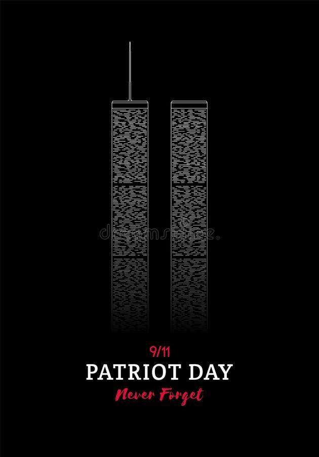 Banni?re de jour de patriote World Trade Center New York illustration libre de droits