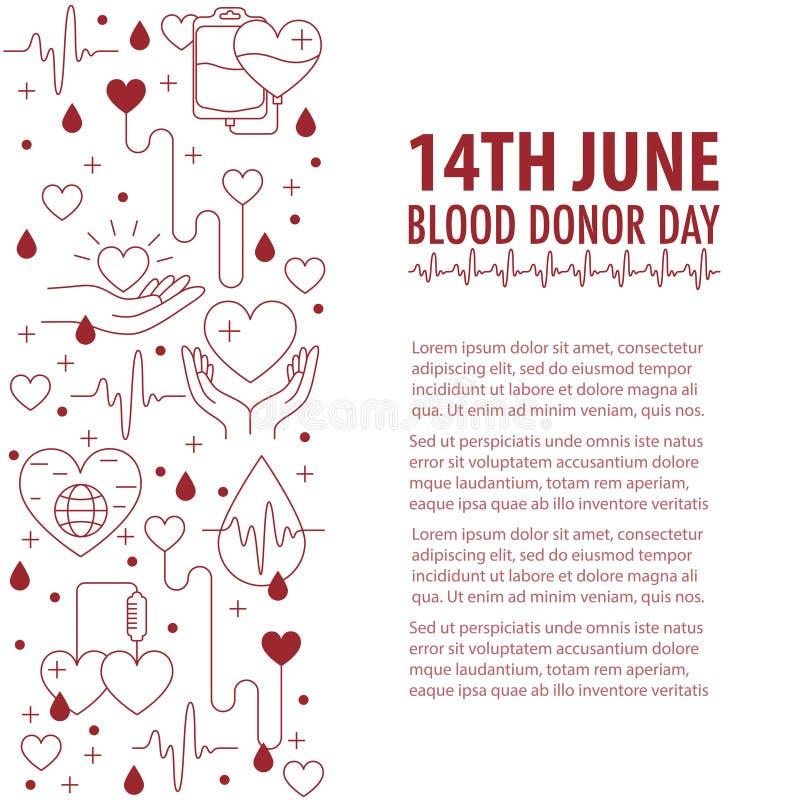 Banni?re de jour de sang de donation illustration de vecteur