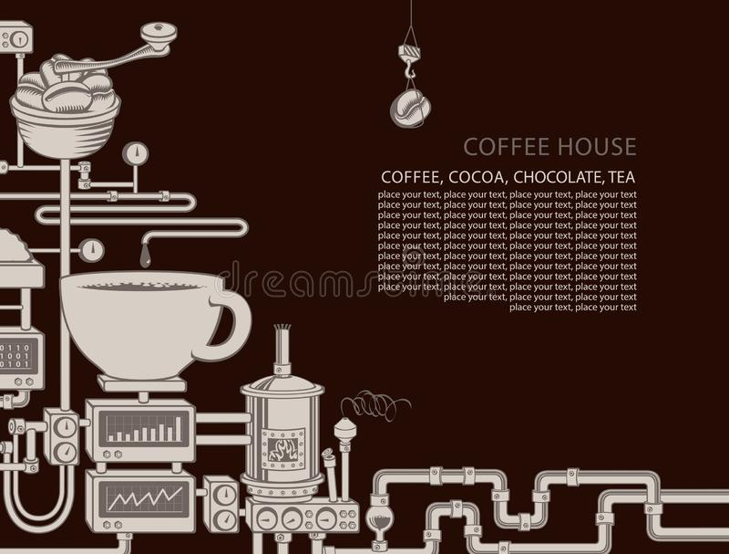 Banni?re de vecteur avec une production de caf? de convoyeur illustration libre de droits