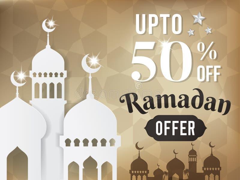 Banni?re de vente ou affiche de vente pour le festival de Ramadan Mubarak illustration de vecteur