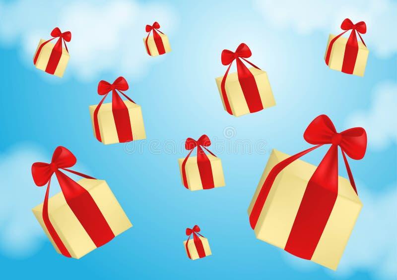 Banni?re de Web pour des services de distribution et le commerce ?lectronique Les paquets volent sur des parachutes Illustration  illustration stock
