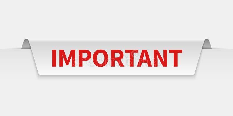 banni?re importante Avis de label tabulé parinformation avec prudence Étiquette d'isolement par vecteur d'importance et d'attenti illustration libre de droits