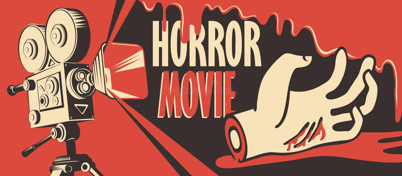 Banni?re pour le festival de film d'horreur, cin?ma effrayant illustration libre de droits