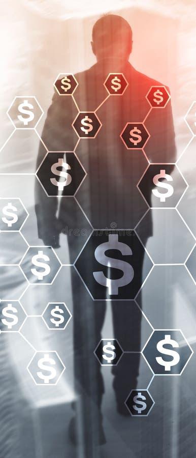 Banni?re verticale de panorama Dollars d'ic?nes, structure de r?seau d'argent ICO, commerce et investissement Crowdfunding photo libre de droits