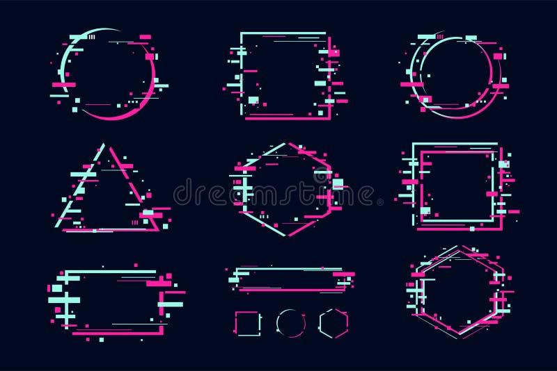 Banni?res d'effet de probl?me et ensemble de cadre Conception futuriste avec des formes abstraites glitchy ?l?ments de clipart de illustration de vecteur