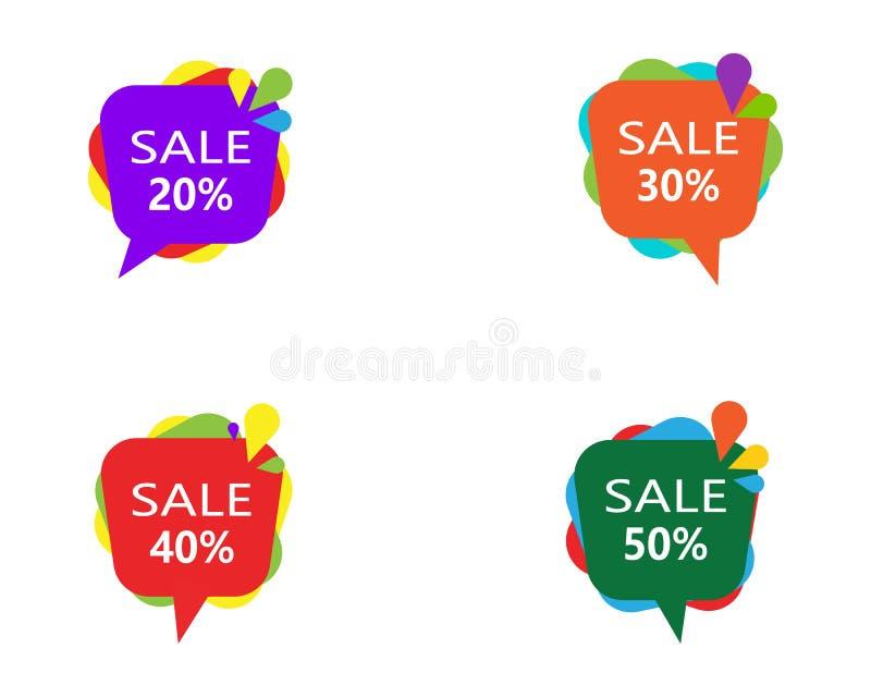 Banni?res de bulle de vente de prix discount Label de prix ? payer Signe plat de promotion d'offre spéciale illustration de vecteur