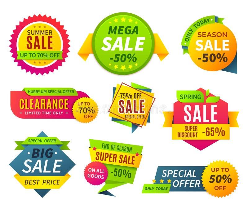 Banni?res de vente Labels d'autocollants de promotion de prix à payer et bons, insigne d'offre de forme de ruban de vente Banni?r illustration libre de droits