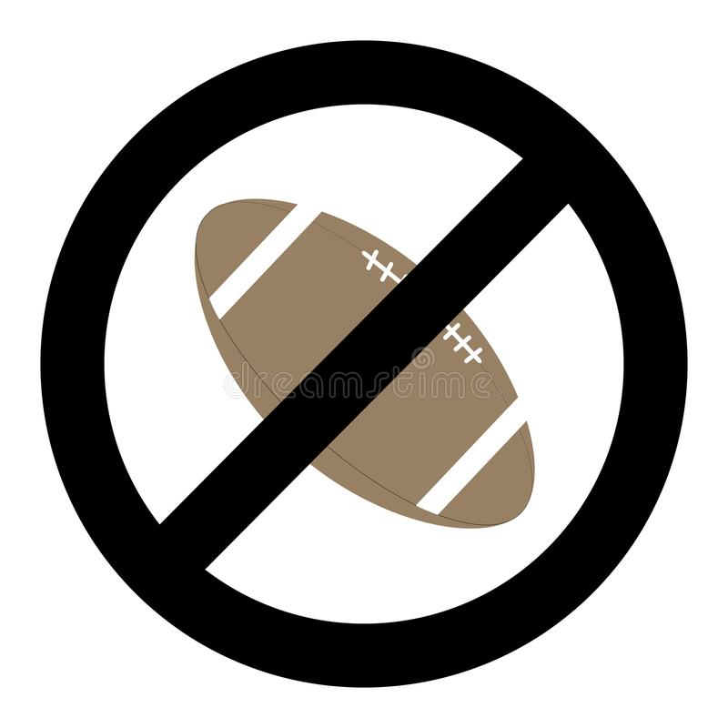 Banning ball for rugby. Vector symbol no ball and restrictions dont rugby, not american sport illustration royalty free illustration