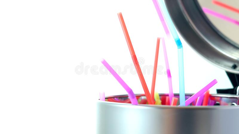 Banning plastic straws enviromental concerns concept. stock images