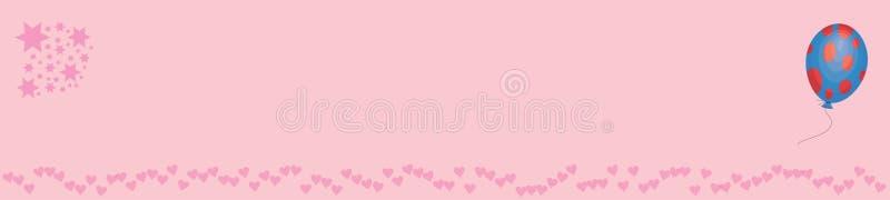 Bannner rosado con las estrellas y el baloon de los corazones libre illustration