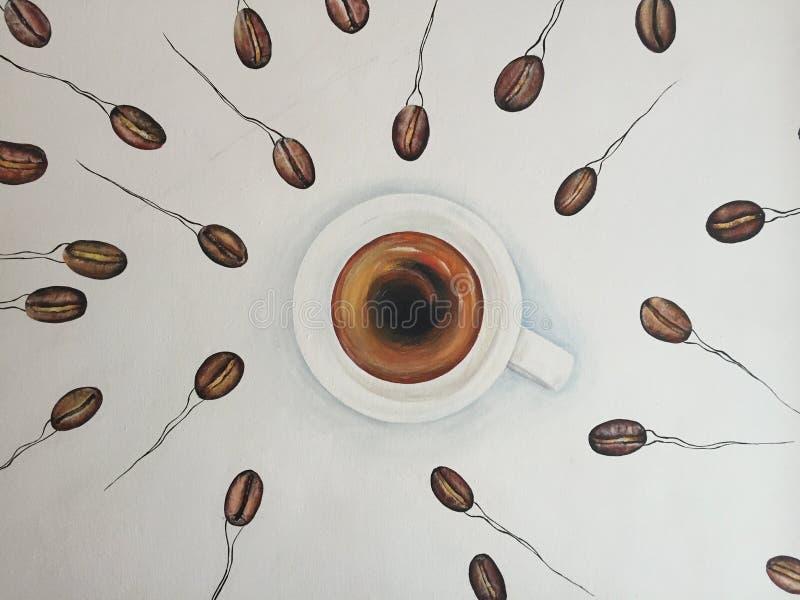 Banos, эквадор, 18-7-2019: Искусство кофе - настенная живопись кофейных зерен как плавание спермы к чашке кофе стоковое фото rf