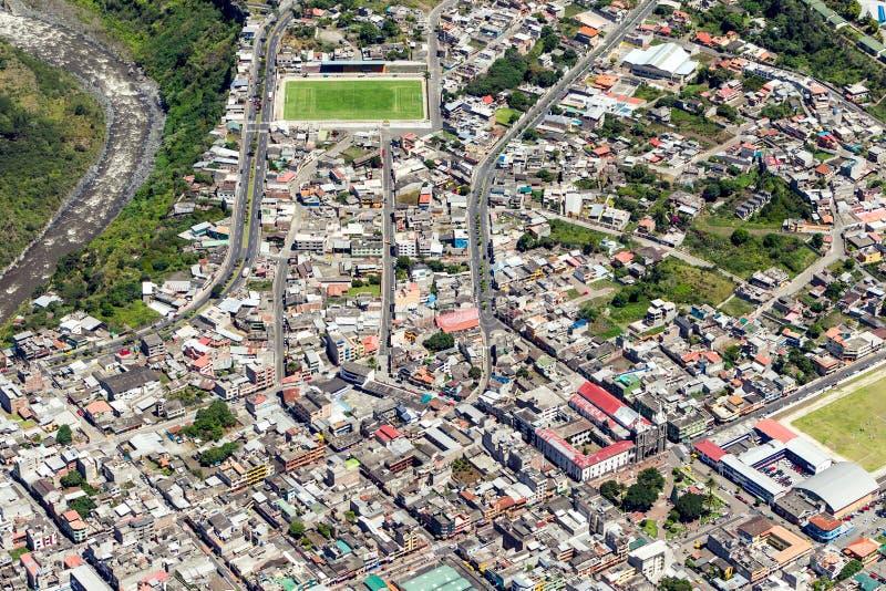 Banos DE Agua Santa City Center Aerial Shot royalty-vrije stock foto