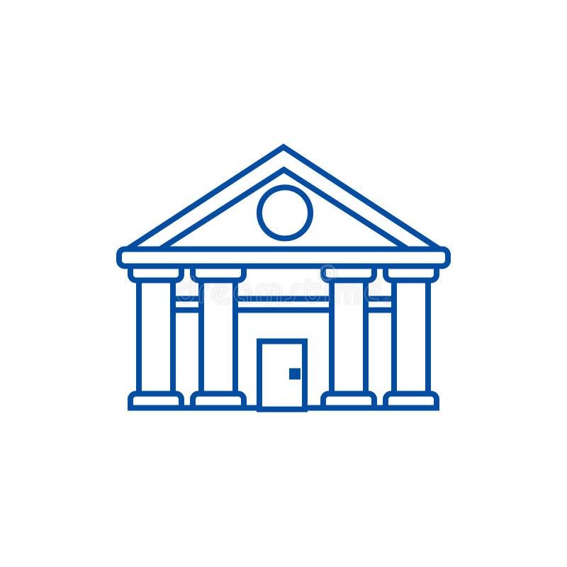 Banque, Cour de ligne concept de Justice d'icône Banque, Cour de symbole plat de vecteur de Justice, signe, illustration d'ensemb illustration de vecteur