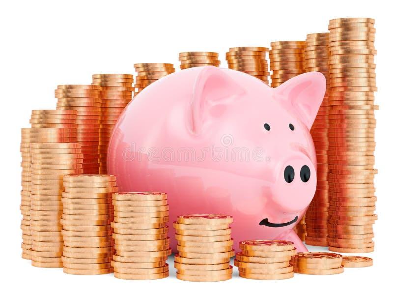Banque de Piggy avec un graphique en croissance de pièces d'or autour rendu 3D illustration stock