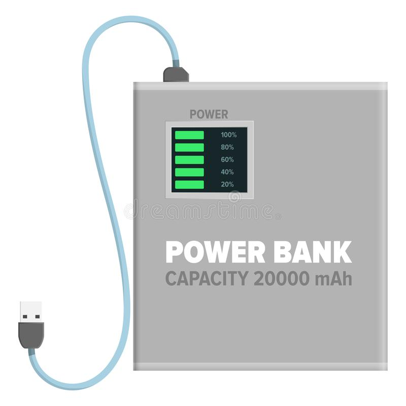 Banque de puissance pour charger l'illustration d'isolement illustration de vecteur