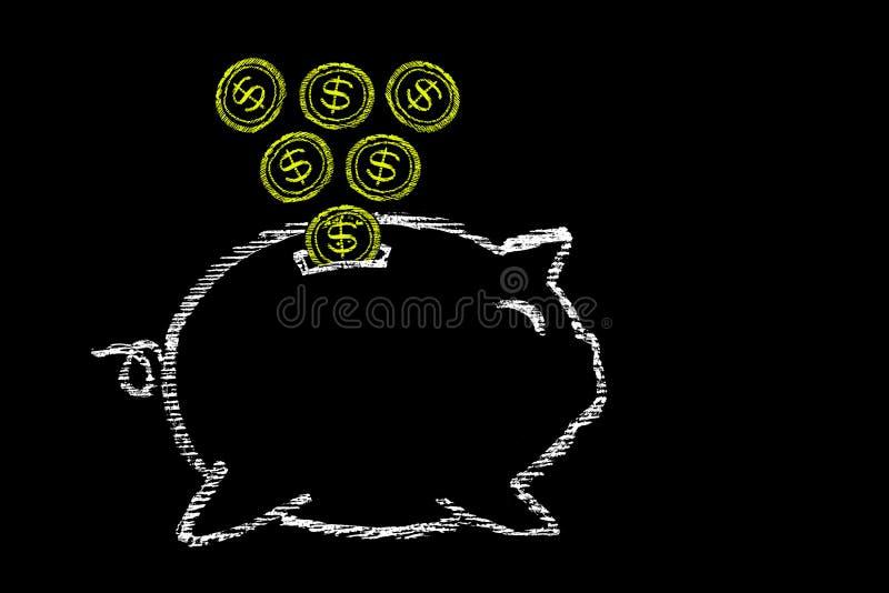 banque fpiggy de concept de créativité et succès, tableau noir avec chal illustration libre de droits