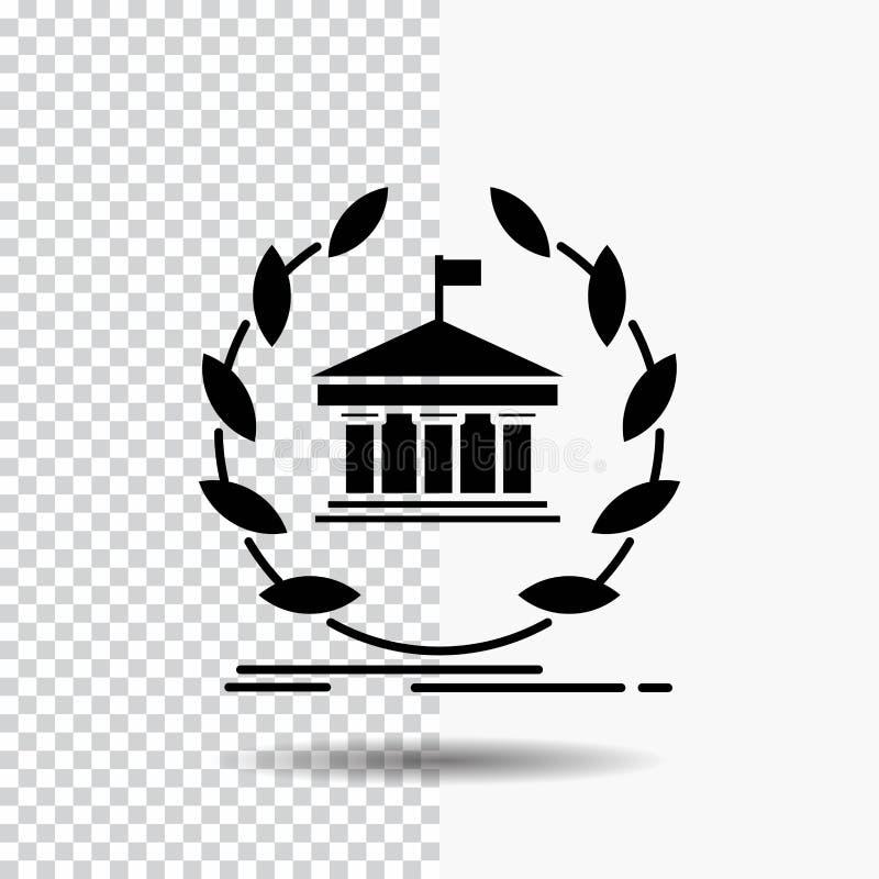 banque, opérations bancaires, en ligne, université, bâtiment, icône de Glyph d'éducation sur le fond transparent Ic?ne noire illustration libre de droits