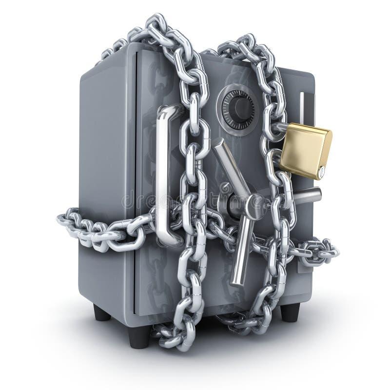 Banque sûre et à chaînes sur le fond blanc illustration de vecteur