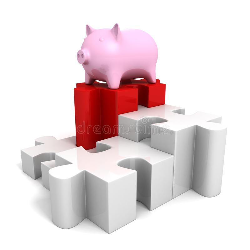 Banque sûre d'argent porcin sur le graphique circulaire de puzzle denteux illustration de vecteur