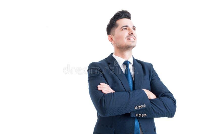 Banqueiro visionário ou corretor do homem de negócios que olham acima foto de stock