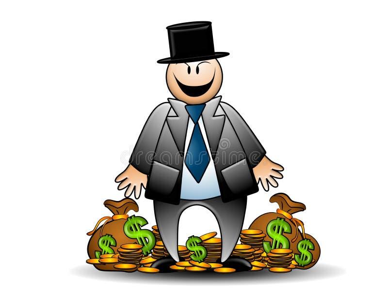 Banquero codicioso con la mueca del dinero stock de ilustración