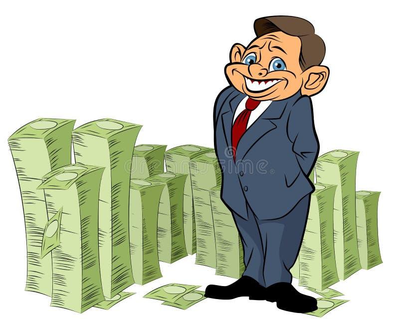Banquero con el dinero stock de ilustración