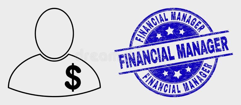 Banquero Icon del esquema del vector y encargado financiero rasguñado Seal ilustración del vector